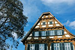 half-timbered houses in germany - stock photo