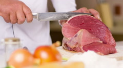 Cook Cut The Meat Stock Footage