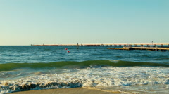 Small Waves In Front Of Busselton Jetty Stock Footage
