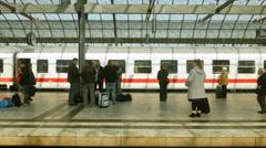 Train leaving Berlin station Stock Footage