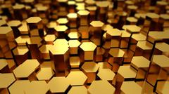 Abstract tech background with many golden hexagons Stock Illustration
