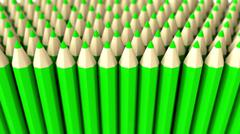 Stock Illustration of A pile of green 3d crayon on a white background