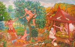 Mural mythology buddhist religion on wall in Wat Neramit Vipasama Stock Photos