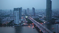 Business Transportation Highway Road and Building Bangkok city area Stock Footage
