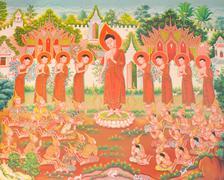 Mural mythology buddhist religion on wall in Wat Neramit Vipasama, - stock photo