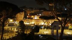 Via dei Fori Imperiali. Night. Rome, Italy. 1280x720 Stock Footage