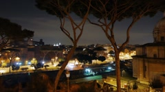 Capitol Hill. Via dei Fori Imperiali. Night. Rome, Italy. 1280x720 Stock Footage
