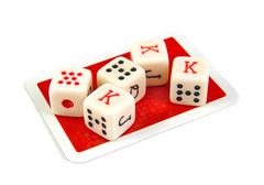 Set of five poker dices on a white background Stock Photos
