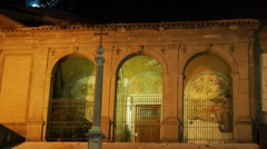 Frescoes and cross. Night. Rome, Italy Stock Footage