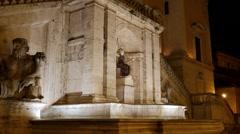 Fontana della Dea Roma. Night. Capitol Hill. Rome, Italy. 1280x720 Stock Footage