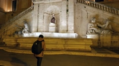 Girl is coming to Fontana della Dea Roma. Night. Rome, Italy Stock Footage