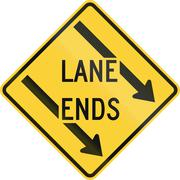 Left Lane Ends Stock Illustration