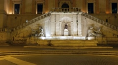Fountain on Piazza del Campidoglio. Night. Rome, Italy Stock Footage