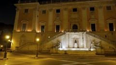 Piazza del Campidoglio. Fountain. Night. Rome, Italy Stock Footage
