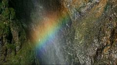 Rainbow on water splash at Funbe Waterfall, Hokkaido, Japan - stock footage