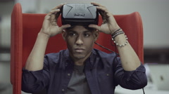 Man using oculus rift Stock Footage
