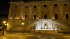 Piazza del Campidoglio. Fountain. Night. Rome, Italy. 4K Stock Footage
