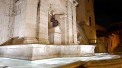 Fountain on the Capitol Square. Night. Rome, Italy. 4K Stock Footage
