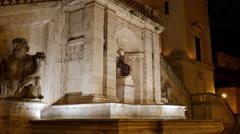 Fontana della Dea Roma. Night. Capitol Hill. Rome, Italy. 4K Stock Footage