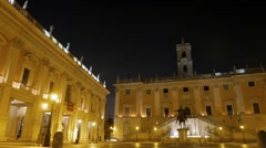 Night view on the Capitol Square. Rome, Italy. 1280x720 Stock Footage