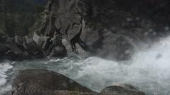 Waterfall,  mountain, Lillaz waterfall, Gran Paradiso National Park, Lillaz, Stock Footage