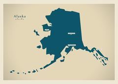 Stock Illustration of Modern Map - Alaska USA