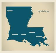 Modern Map - Louisiana USA - stock illustration