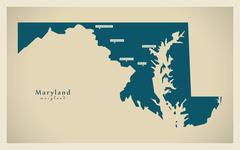 Modern Map - Maryland USA Stock Illustration