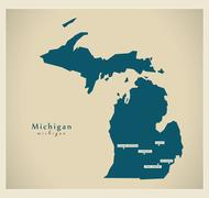 Modern Map - Michigan USA Stock Illustration