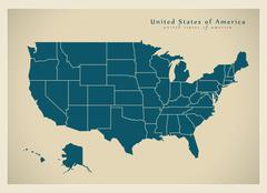 Modern Map - USA with federal states Stock Illustration