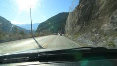 Passing rockfall nets in the Rocky Mountains, BC, Canada. - stock footage