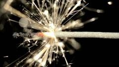 Closeup of Sparkler lit by Hand Stock Footage