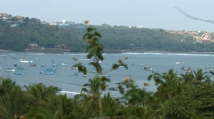 4K Panoramic shot of Coastline in Goa with Palm Trees & Boats 01 Stock Footage