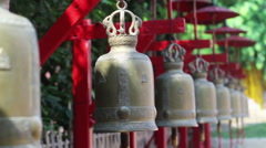 Bells in buddhist temple (with bell sound) - stock footage