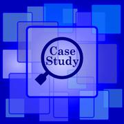 Stock Illustration of Case study icon. Internet button on abstract background..