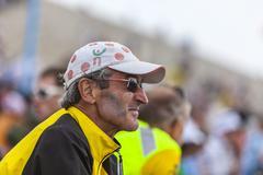 Profile of Veteran Fan of Le Tour de France Stock Photos