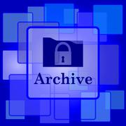 Stock Illustration of Archive icon. Internet button on abstract background..