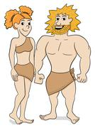 Prehistoric cave dweller couple Stock Illustration