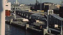 Helsinki 1987: liner arriving at the port - stock footage