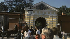 Leningrad 1987: people entering into Peter and Paul fortress Stock Footage