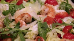 Fresh salad of fried shrimp and vegetables Stock Footage