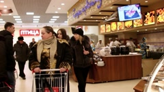 RUSSIA, MOSCOW, 7 MARCH 2015, People shopping at the grocery supermarket - stock footage