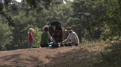Family picknick in the woods Stock Footage