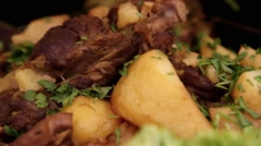 Close up of lamb roast with herbs Stock Footage