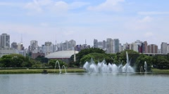 Fountains in Ibirapuera Park, Sao Paulo, Brazil Stock Footage