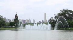 Fountains in Ibirapuera Park and the Christmas Tree, Sao Paulo, Brazil Stock Footage