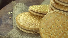 Heap of Cream Cookies (loopable) Stock Footage