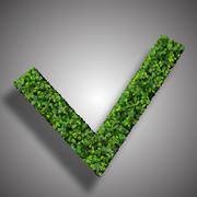 Approved, ok, like, eco sign made from green leaves. - stock illustration