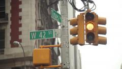 Times Square And 42 Street Sign, Traffic Light Stock Footage