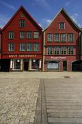 BERGEN/NORWAY 10TH JULY 2006 Classic timber framed buildings of Bryggen - stock photo